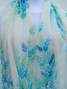 Items similar to Chiffon silk scarf Wedding Hand painted in blue turquoise mint ivory white. Bridal floral romantic handpainted scarf, elegant and delicate . Floral Print Sarees, Floral Prints, Stained Glass Mirror, Hand Painted Sarees, Fabric Paint Designs, Wedding Hands, Embroidery Flowers Pattern, Painted Clothes, Silk Dupatta