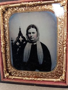 TINTYPE in FULL CASE RELIGIOUS LOOKING WOMAN w/ SCARF & CHAIR BACK MORMON EMMA ?