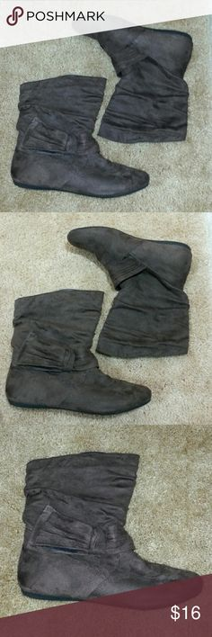 Hot Cakes Suede Boots Brown suede mid calf boots. Gently used. Hot Cakes Shoes Ankle Boots & Booties