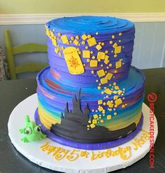 50 Most Beautiful looking Tangled Cake Design that you can make or get it made on the coming birthday. Bolo Rapunzel, Rapunzel Birthday Cake, Tangled Birthday Party, 4th Birthday Cakes, Rapunzel Cake Ideas, Tangled Wedding, Bts Cake, Homemade Strawberry Cake, Cake Designs Images