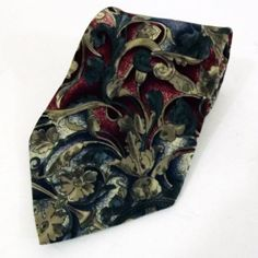 KARL LAGERFELD SILK TIE FLORAL RED BLUE CREAM EXCELLENT MADE IN THE USA
