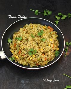 Tawa pulav – a delicious, aromatic street food from Mumbai India where basmati rice is cooked with blend of spices and vegetables.