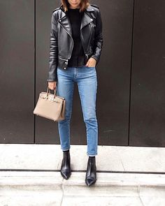 Leather jacket, blue skinny jeans, pointed Chelsea boots (Acne Studios Jensen)