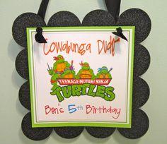 Ninja Turtle TMNT party sign. $14.00, via Etsy.