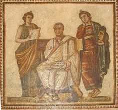 """Roman Mosaic. Virgil And Two Muses: """"Clio"""" (History) and """"Melpomene"""" (Tragedy).  The mosaic, which dates from the 3rd Century A.D., was discovered in the Hadrumetum in Sousse, Tunisia"""