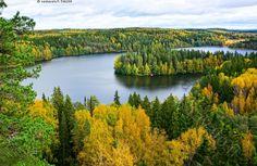 Syksyn ruskaa - järvimaisema metsämaisema Aulanko näköala kansallismaisema ruska kellastuneet lehtipuut syksyinen maisema Lusikkaniemi järvi