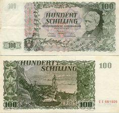 austrian money   100 Schilling 2.1.1954 (F. Grillparzer) [ Obverse & Reverse ]