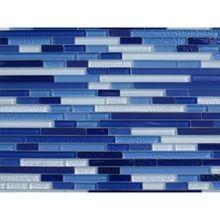 Horizontal Glass Tile Backsplash blue horizontal bars mosaic glass tile / 1 sq ft | kitchen tile