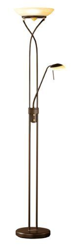 Wofi Standfluter-Skin, 2-flammig, Höhe : 180 cm, antik braun - with brass accents- might tie chandelier and other furnishings together nicely- halogen- both lamps dimmable - 119 EUR