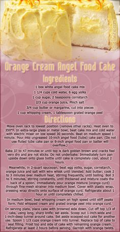 Orange Cream Angels Food Cake desert recipe recipes ingredients instructions desert recipes cake recipes easy recipes recipe ideas recipes for kids recipes to try mothers day recipes