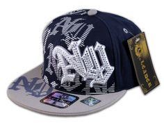 ★This is a High Quality Blue Gray Flat Brim Ball Cap! Its a Fitted Hip Hop Style Hat, from Leader. It has Embroidery with NY for New York, Print, Stitching and Jewels! [$15.97]