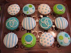 Baby shower cupcakes. Yellow?? Chevron and polka dots