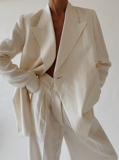 Linen Suit, Linen Blazer, Linen Trousers, Suit Fashion, Fashion Beauty, Fashion Outfits, White Outfits, Classy Outfits, Looks Style