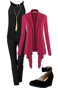 Adore the bright pink sweater, color and style.  The black underneath with the gold necklace is very classy.