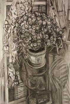 Богомолова Ольга. Хризантемы. 2017. Уголь, пастель. 86х61