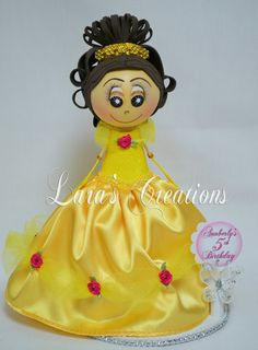 Fofucha Belle, Foam Doll, Belle party. Princess Belle Centerpiece.