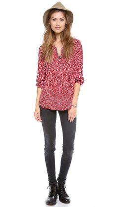 Joie. Moema Scattered Hearts Blouse.