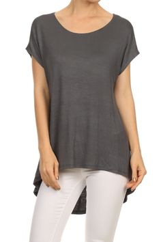 Trendy Short Sleeve Hi-Low Tunic Top
