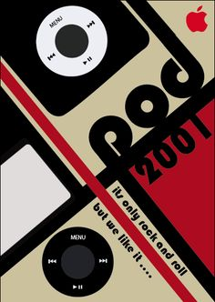 This is an example of a Bauhaus design. It is a poster representing ipods. It also shows the date it was made and some sentences about music.