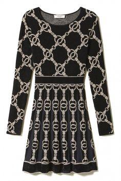 Twin Set Damen Kleid mit Kettendesign Schwarz | SAILERstyle Twin Set, Bell Sleeves, Bell Sleeve Top, Pullover, Elegant, Dresses With Sleeves, Long Sleeve, Tops, Design