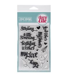 Avery Elle-Clear Stamps. These clear stamps peel off their backing and stick to any acrylic block making for easy stamping. Simply apply your favorite ink and stamp crisp clear images. They are made f