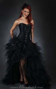 Tulle de grand format noir taille Burlesque Corset par Glamtastik, $599.00