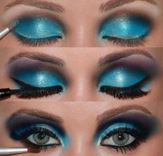 blue eye shadow for the make up for the Queen of Hearts.