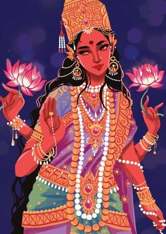 tinasol: Illustration of the Hindu goddess Lakshmi for an event. (No offense to people of this culture but your religion/culture has such beauty in it and I think it's gorgeous! Goddess Art, Goddess Lakshmi, Indian Illustration, India Art, Sacred Feminine, Hindu Deities, Indian Gods, Gods And Goddesses, Tantra