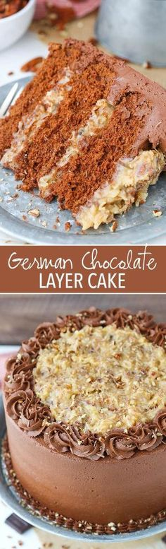 German Chocolate Layer Cake - the classic german chocolate cake with coconut pecan filling and chocolate frosting! by DeeDeeBean
