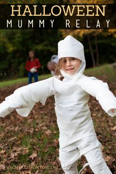 Divide kids into groups of two and have one wrap the other up like a mummy as quickly as possible and whichever team's mummy runs to the finish line first wins.  Get the tutorial at Six Cherries on Top »