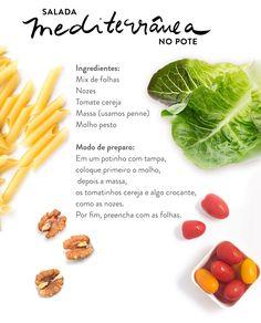 No cardápio de verão do Westwing você encontra receitas de salada no potinho, como essa combinação Mediterrânea