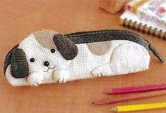 """Kit de patchwork Japonais """" trousse, étui à lunette chien"""""""
