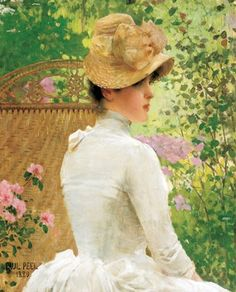 Paul Peel Lady in the Garden Reproduction Oil Painting on Canvas Framed for Sale