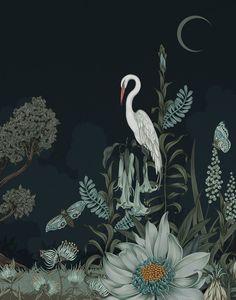 Modern Wallpaper, Designer Wallpaper, Artistic Wallpaper, Bedroom Wallpaper, Nighttime Sky, Night Garden, Moon Garden, Wallpaper Calculator, Underwater World
