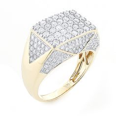 This 14K Gold Mens Diamond Ring is versatile design which can be used as a pinky ring and also makes a unique wedding band, weighs approximately 10 grams and showcases 2.75 carats of genuine sparkling diamonds. Featuring an oversized design and a highly polished gold finish, this mens diamond ring is available in 14K white, yellow and rose gold.