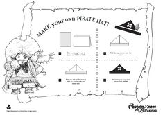 How to fold a pirate hat. Free Captain Sneer printable.