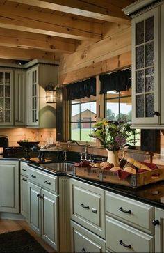 Rustic Cabin Kitchens, Log Home Kitchens, Rustic Kitchen Cabinets, Rustic Kitchen Design, Painting Kitchen Cabinets, Kitchen Paint, Country Kitchen, Kitchen Interior, Kitchen Decor