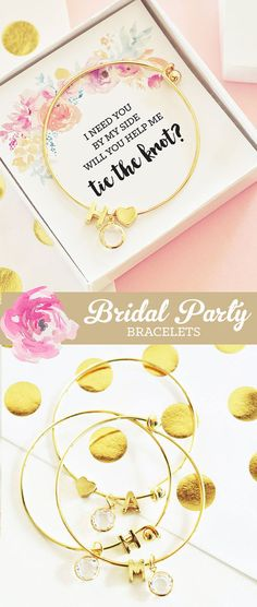 Ask will you be my bridesmaid with these pretty gold monogram bracelets in a floral watercolor gift box! These chic bridesmaid bracelets are a unique way to ask your bridal party - be my bridesmaid or maid of honor.  by Mod Party