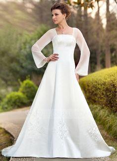 A-Line/Princess Square Neckline Chapel Train Chiffon Satin Wedding Dress With Embroidered (002011989)