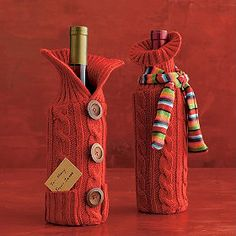 love these cute wine bottle sleeves just cut off the sleeve of a sweater and use stich witch...no sewing!