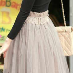 Marl Grey Gray Coffee Brown Khaki Green Lined Soft Touch Tulle Maxi MIDI Skirt | eBay