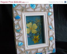White Pottery Frame Teal Abalone Shell 4 x 6 by breakitupdesigns, $31.50