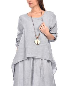 Another great find on #zulily! Gray Linen Sidetail Dress - Plus Too #zulilyfinds
