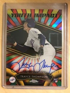 Sports Memorabilia: 2016 Topps Chrome Auto Red Refractor Trayce Thompson Rc 1/5 Youth Impact BUY IT NOW ONLY: $56.95