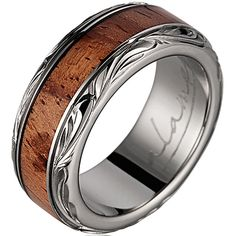 Titanium Wedding Band with Pink Ivory wood Inlay