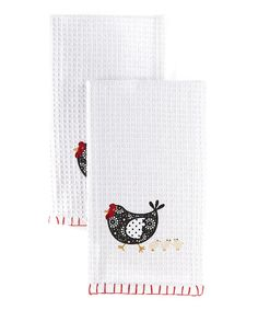 take a look at this white hen chick home to roost dish towel set