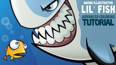 Tiny Fish Cartoon: Advanced Coloring in Adobe Illustrator