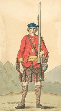 A soldier in 1742 of the regular 43rd Highlanders regiment (later renumbered the 42nd) who were also known as the Black Watch that had been formed from the Independent Companies in 1739