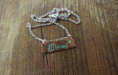 Metal Stamped Copper Blessed Necklace with by SashasCustomJewelry