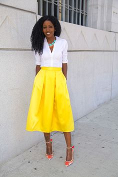 White Button-Up Shirt + Yellow Box Pleat Midi Skirt